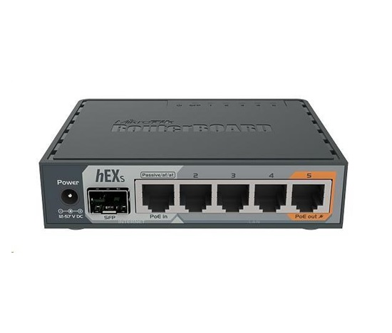 MikroTik RouterBOARD hEX S, 880MHz dual-core CPU, 256MB RAM, 5x LAN, 1x SFP, PoE in/out,USB,microSD slot, vč. L4 licence