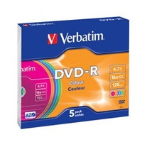 VERBATIM DVD-R(5-Pack)Slim/Colour/16x/4.7GB