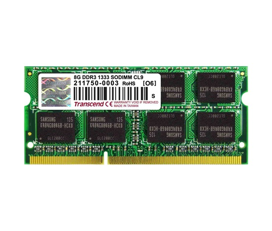 SODIMM DDR3 8GB 1333MHz TRANSCEND 2Rx8 CL9